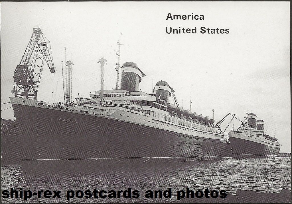 AMERICA (1940) & UNITED STATES (1952) at Cherbourg, postcard