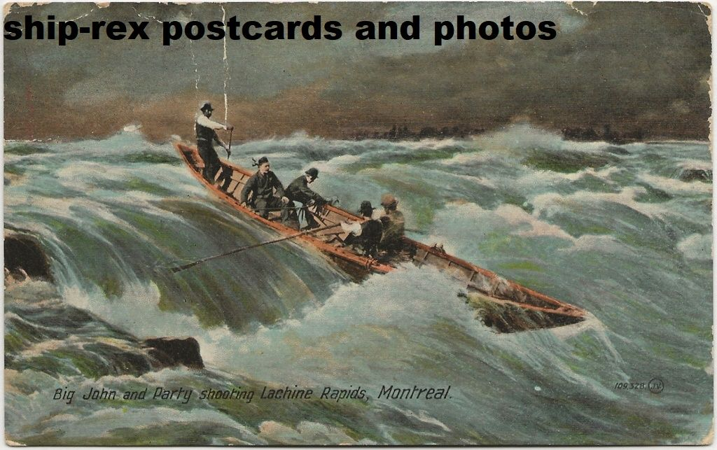 Big John & Party Shooting Lachine Rapids, postcard