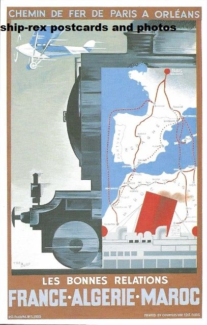 French Railway Poster (France Algeria Morocco) postcard