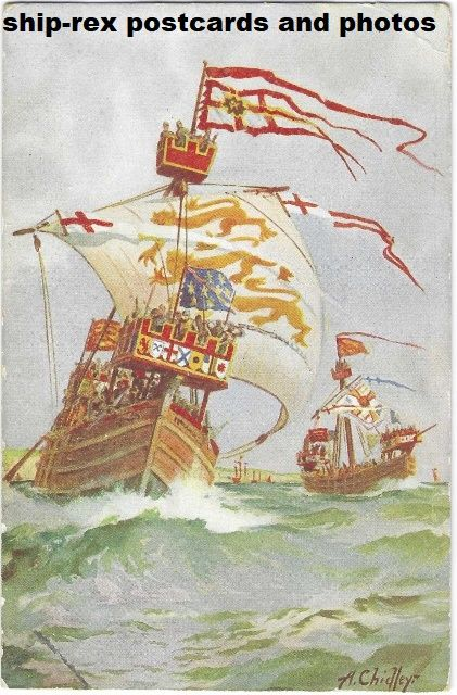 King's Ship by A. Chidley, art studio postcard