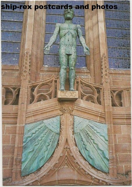 Liverpool Cathedral, The Liverpool Christ, postcard