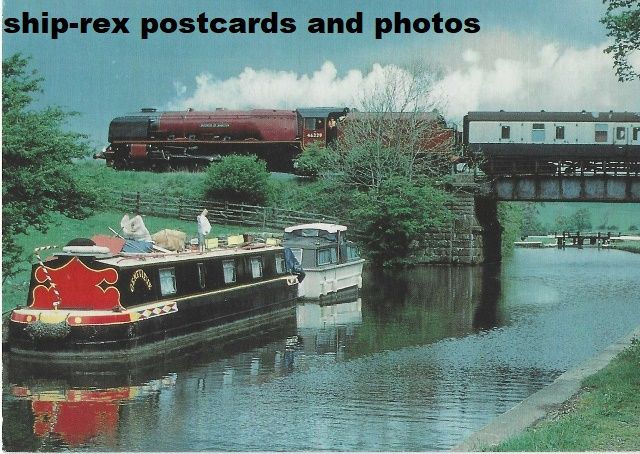 LMS, Duchess Of Hamilton crossing Leeds & Liverpool Canal, postcard